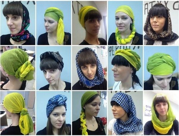 варианты ношения палантина на голове