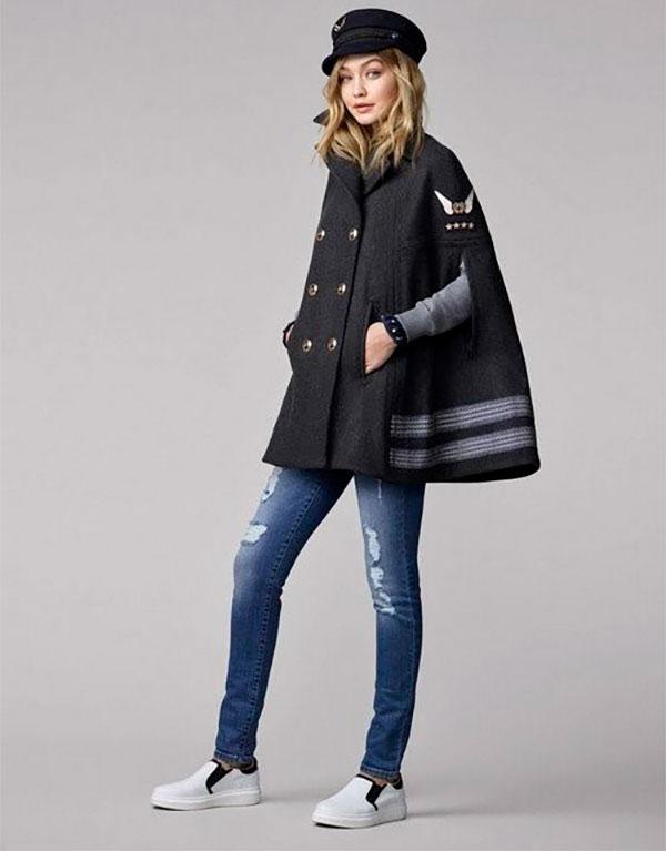 Джинсы с коротким пальто
