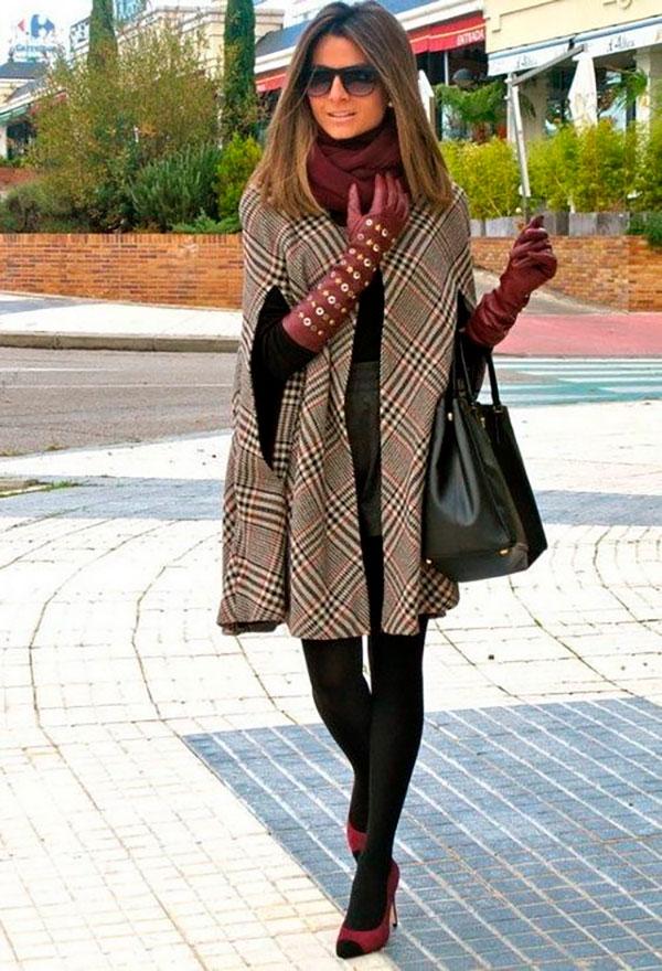 Кейп с юбкой, джемпером и длинными перчатками