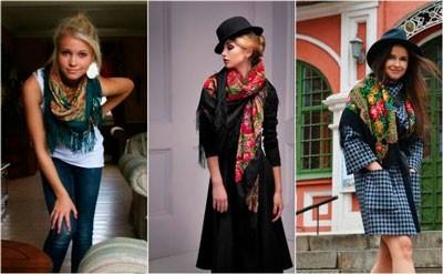 Как носить павлово-посадские платки