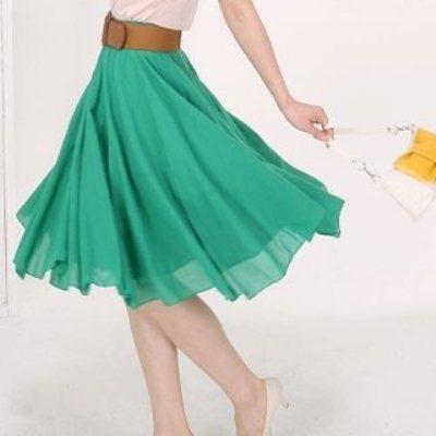 юбка-полусолнце цвета морской волны