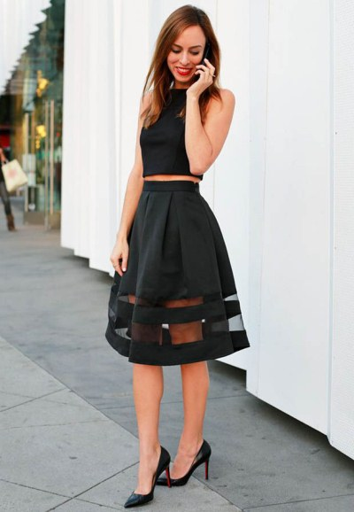 с чем носить классическую черную юбку-полусолнце