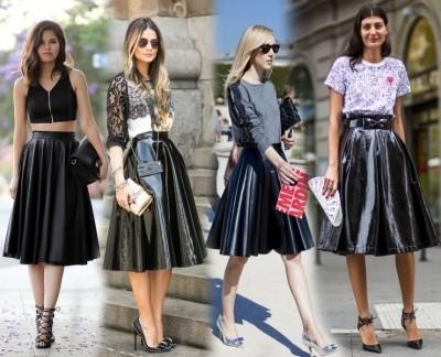 классическая черная юбка-полусолнце миди