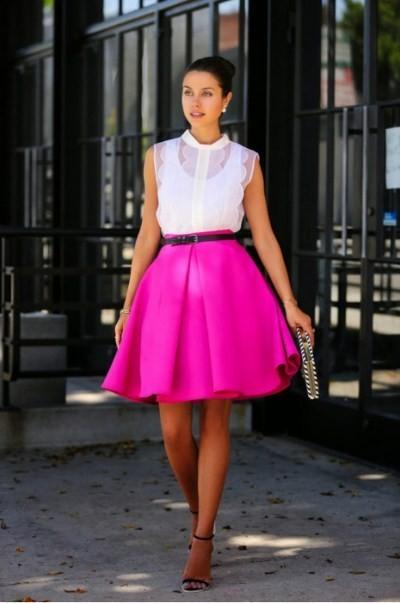розовая юбка-солнце до колен