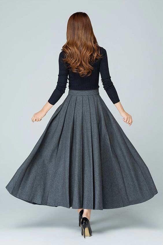 Вариант длинной юбки со складками