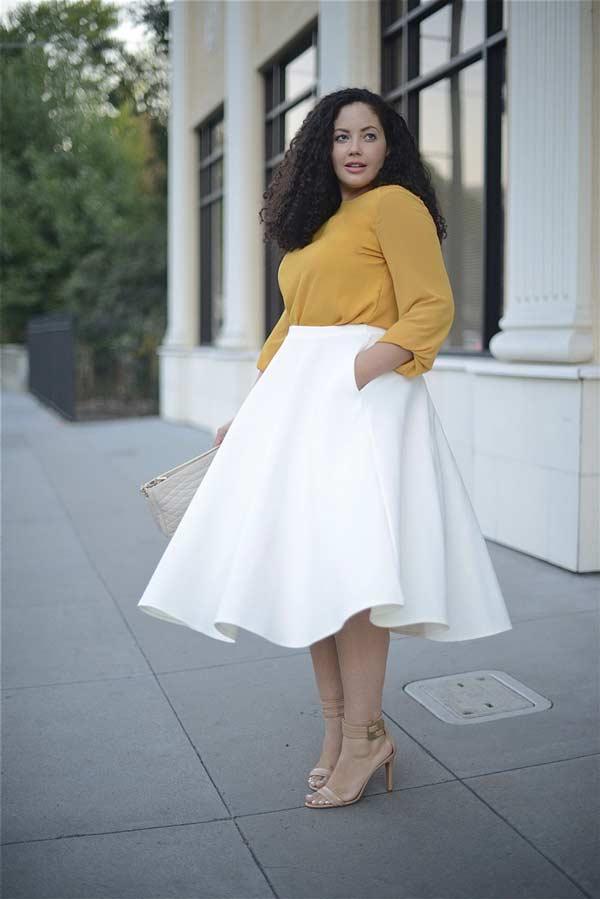 Элегантная белая юбка миди с шелковой блузкой