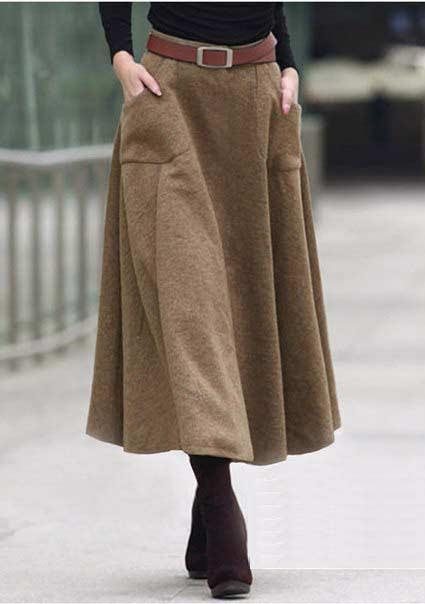 Юбка из твида с накладными карманами