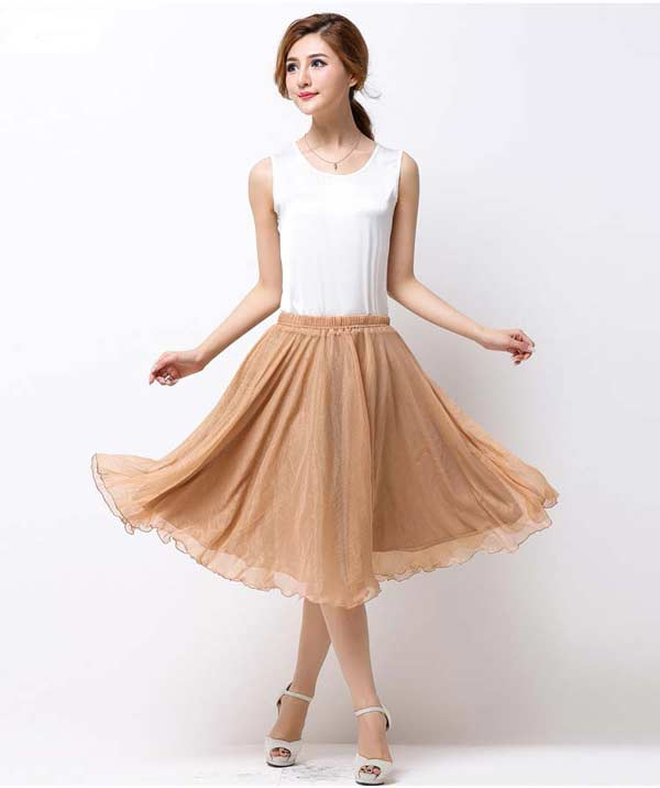 Летняя легкая юбка с резинкой на талии