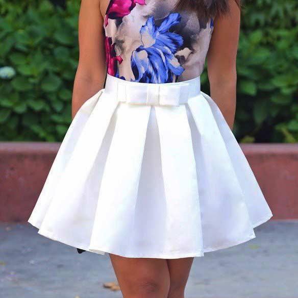 Вариант белой юбки с бантовыми складками