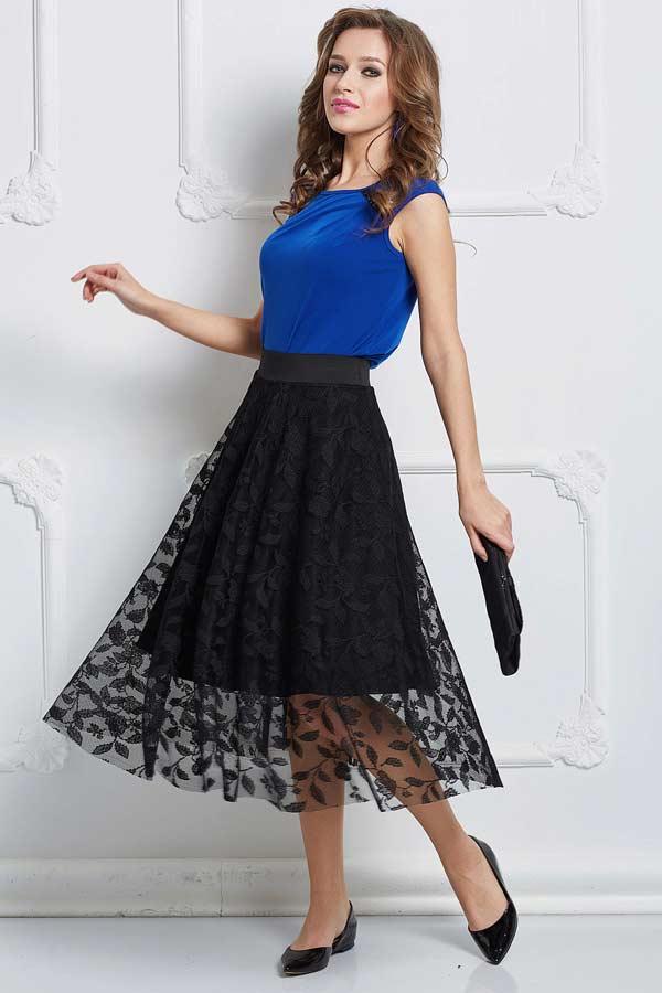 Вариант летней юбки с ярким топом для вечерних мероприятий