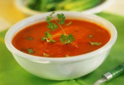диетический томатный крем-суп и рисом