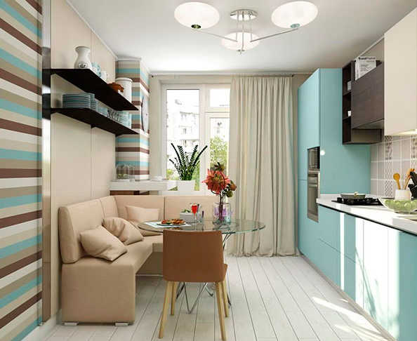 Обеденное место с диваном в узкой кухне