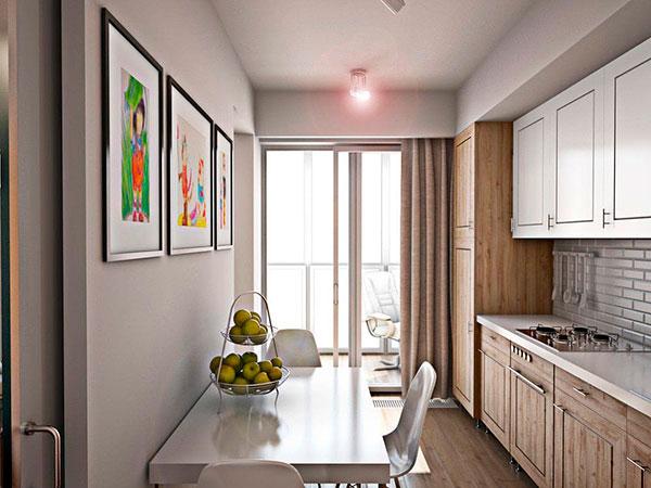 Прямоугольная кухня-столовая с балконом