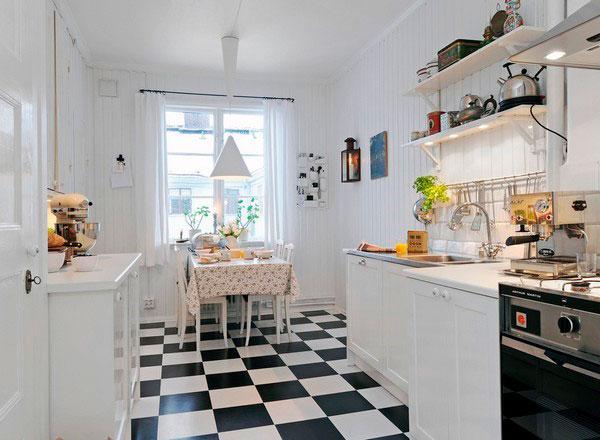 Скандинавский стиль кухни без навесных шкафов с полками