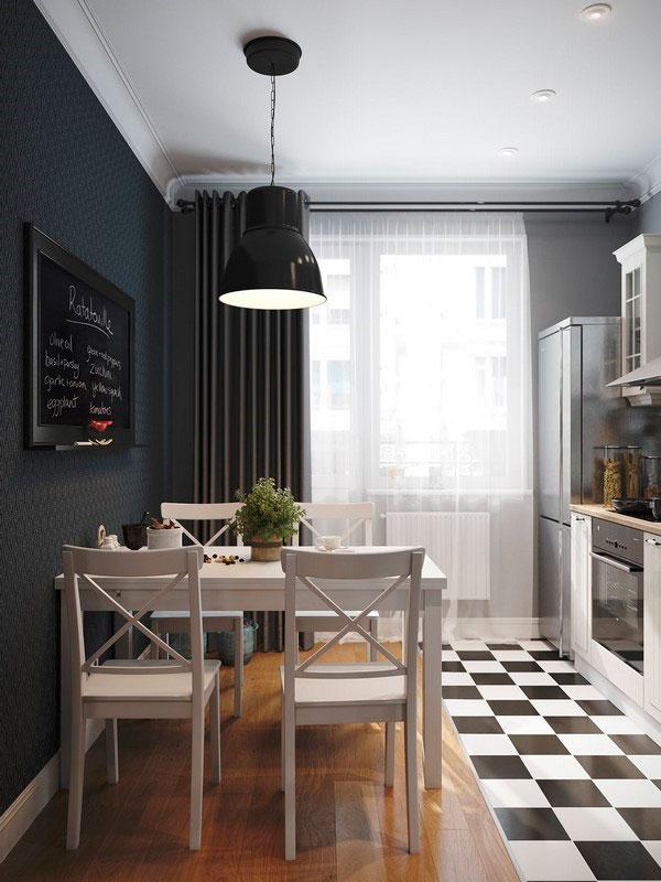 Вариант обеденной зоны на кухне с контрастной стеной