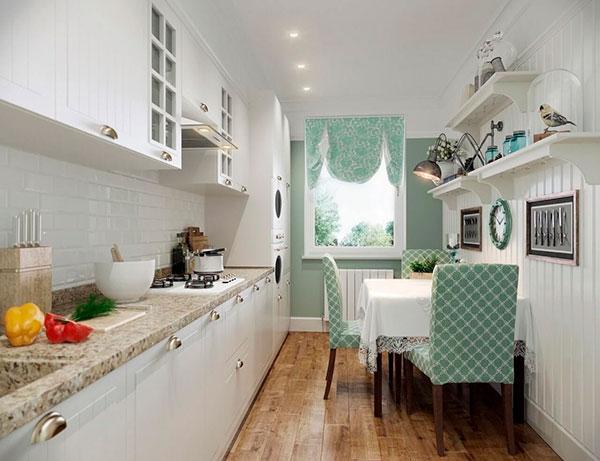 Вариант размещения обеденной зоны в узкой кухне