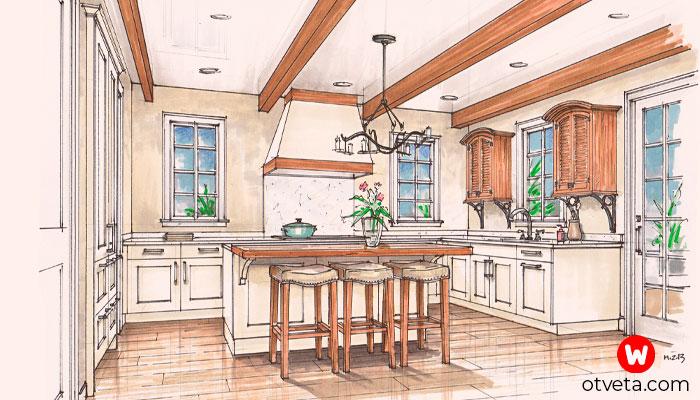 Варианты дизайна для длинной узкой кухни