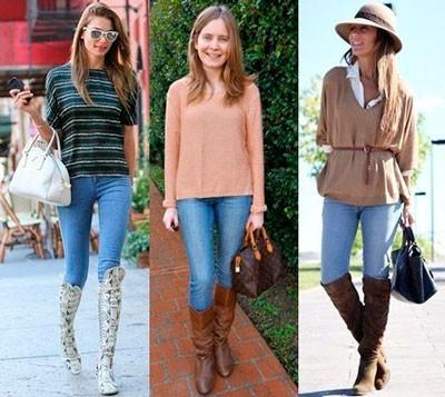 Пример сочетания ботфортов и джинс