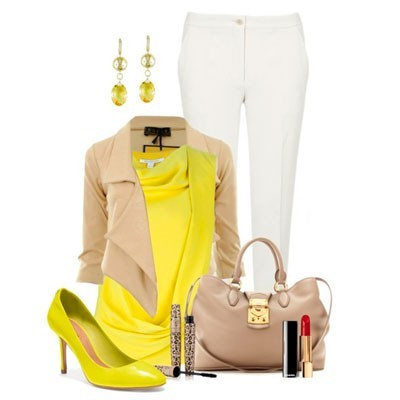 Сочетание с желтыми туфлями
