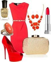 Сочетание с красными туфлями