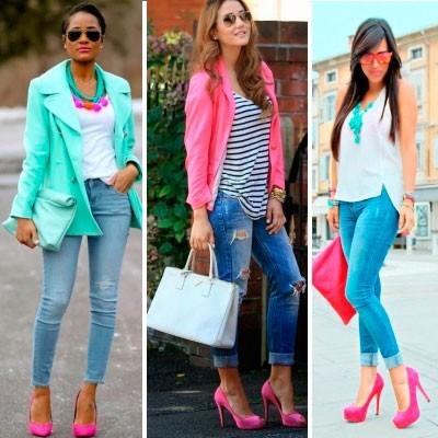 Сочетание с розовыми туфлями