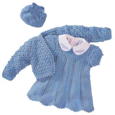 Вязаные платье, болеро и шапочка для девочки