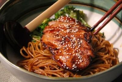 курица в соусе терияки со спагетти