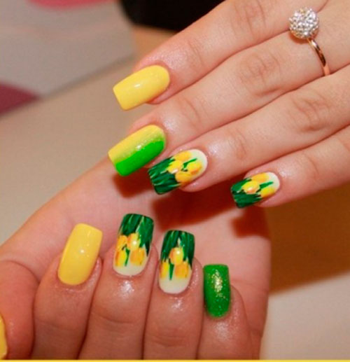 Желто-зеленый маникюр