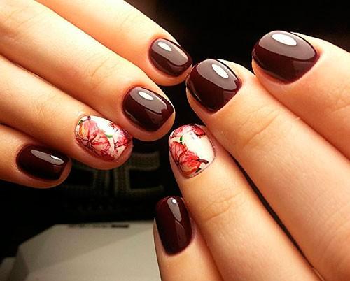 Осенний маникюр на коротких ногтях
