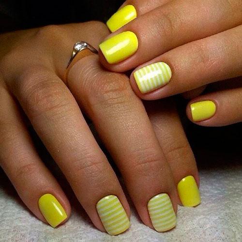 ППример желтого маникюра на коротких ногтях