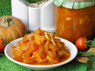 салат из тыквы в томате без уксуса на зиму