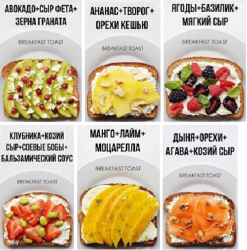 Примеры бутербродов для перекуса
