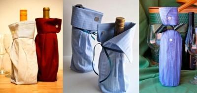 бутылка хорошего вина или коньяка, упакованная в рукав рубашки и завязанная галстуком