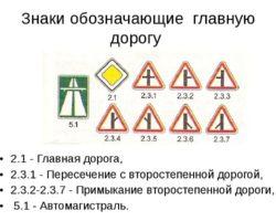 Главная дорога обозначается знаками 5.1, 2.1, 2.31 или 2.32 – 2.3.7