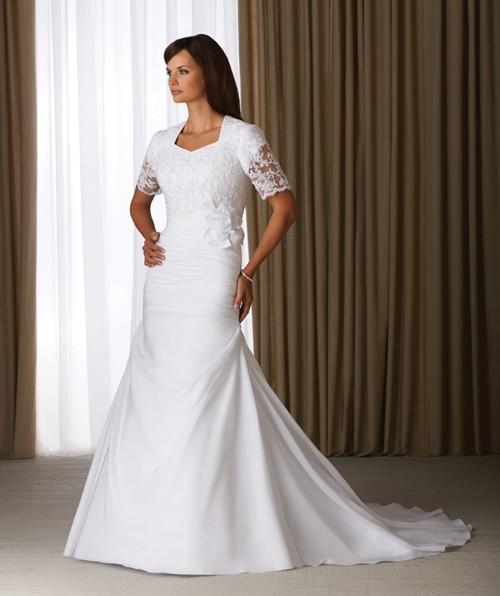 Свадебное платье с закрытыми плечами для полных девушек