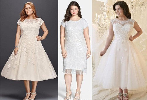 Короткие свадебное платье для полных девушек