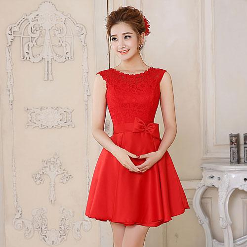 Короткое красное свадебное платье