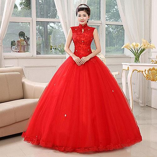 Длинное красное свадебное платье
