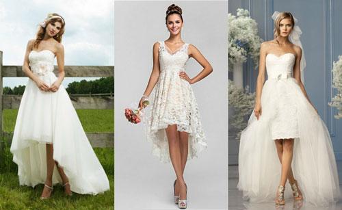 Платья на свадьбу с короткой юбкой спереди и длинной сзади