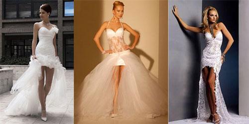 Платья на свадьбу с короткой юбкой со шлейфом