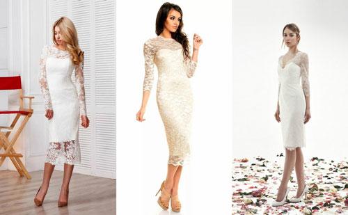 Платья на свадьбу с короткой юбкой с рукавами