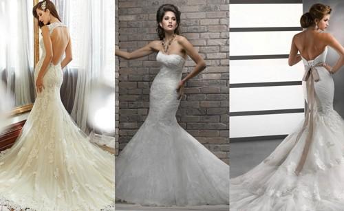 Свадебные платья в форме рыбки со шлейфом