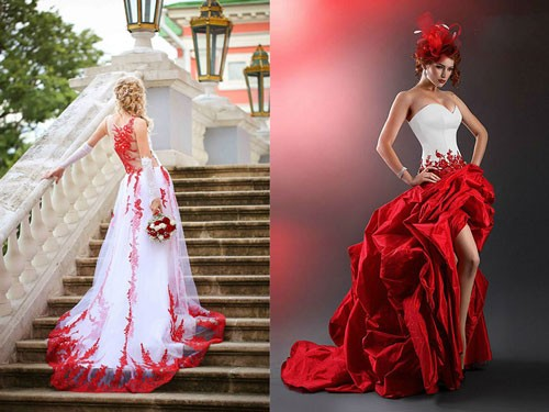 Белое свадебное платье с красными элементами