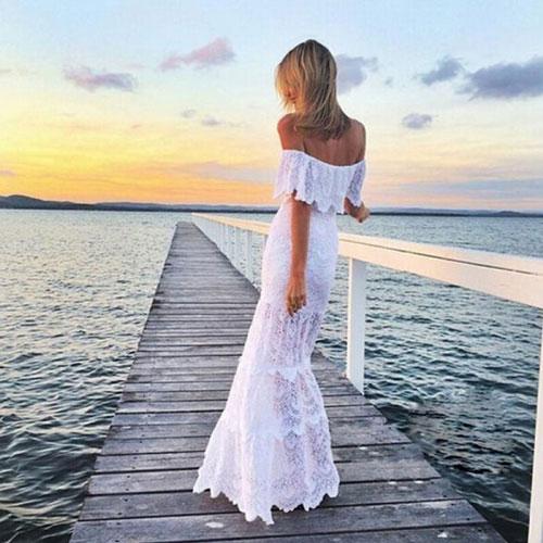 Кружевное свадебное платье для церемонии на пляже