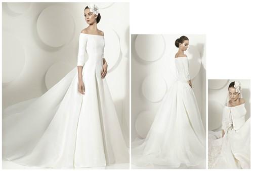 Атласное свадебные платья с рукавами
