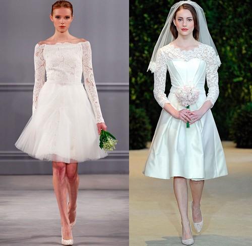 Короткие свадебные платья с рукавами