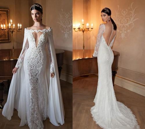 Свадебные платья с рукавами и с открытыми плечами