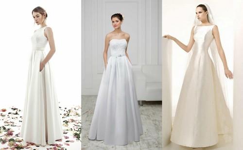 Атласные свадебные платья А-силуэта