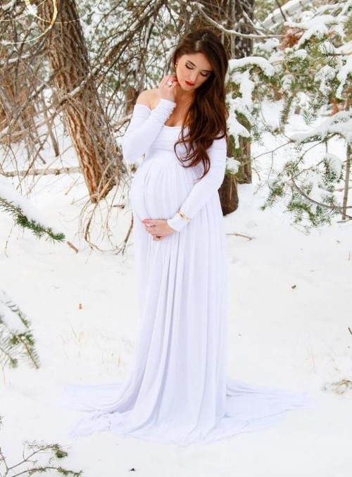 Зимнее платье для беременной невесты