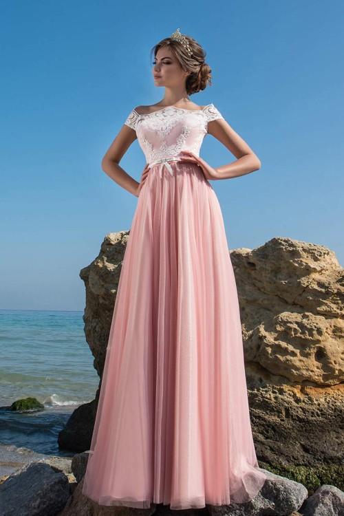 Прямое розовое платье невесты